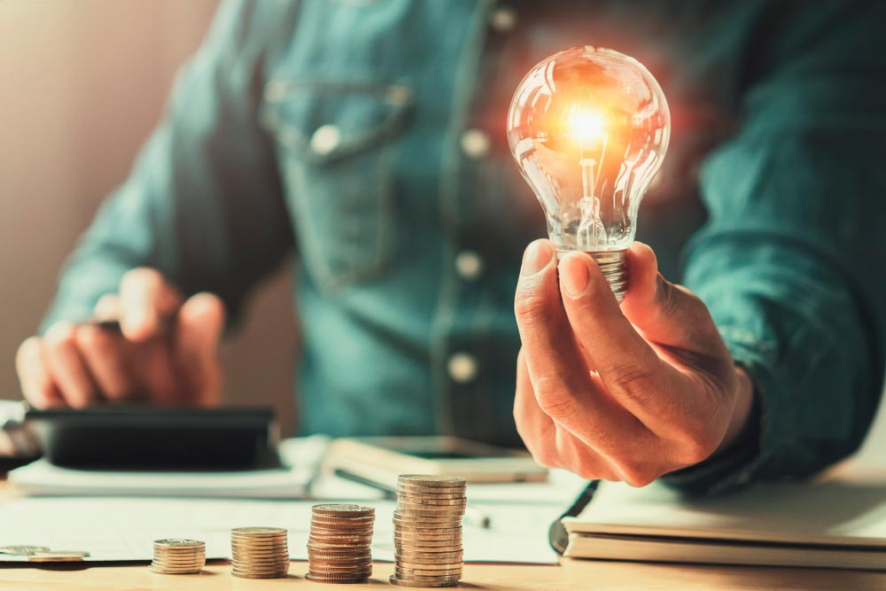 economía de luz encendida